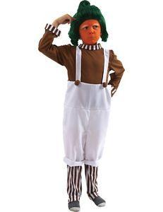 Child Oompa Loompa Fancy Dress Costume + Wig Umpa Lumpa Kids Book Day Boy Girl | eBay