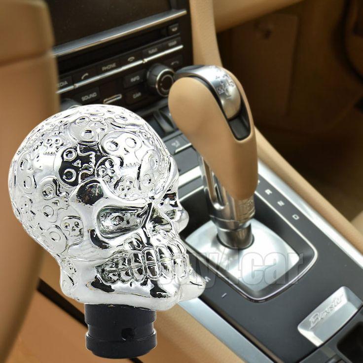 Car interior Accessories Decoration Cool Silver Skull Shape Universal Auto Truck Gear Shift Knob Manual Shift