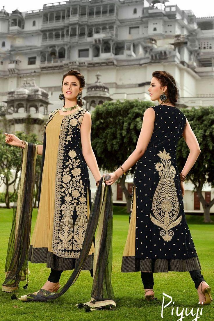 Embroidery work black full length salwar suit