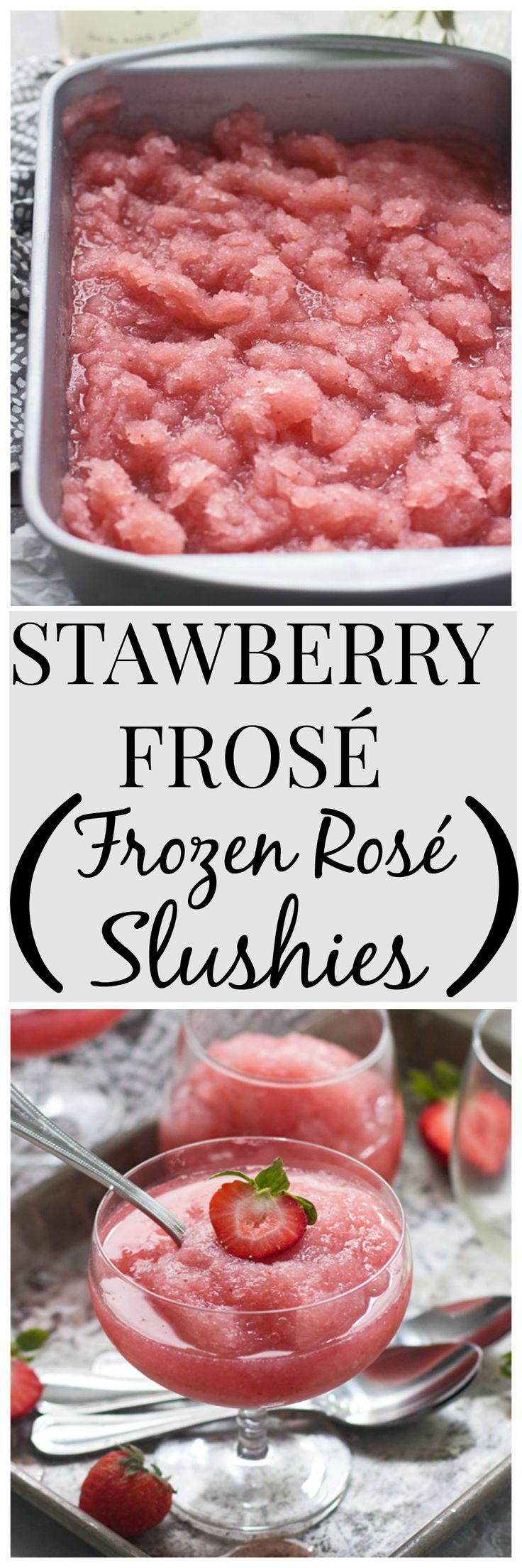 Strawberry Frosé (Frozen Rosé Slushies) - Only THREE ingredients and the ONLY drink you'll want for the rest of summer!