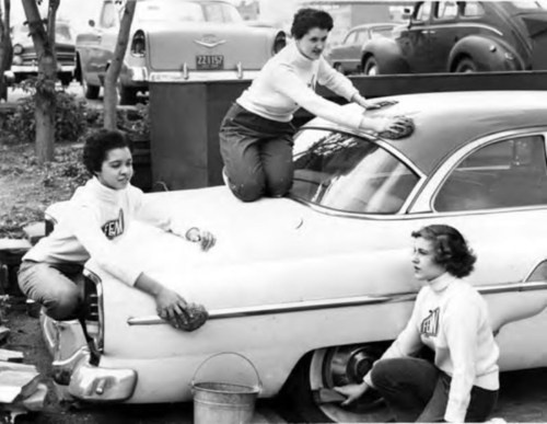 Cheerleader car wash, 1957: Rick Cars, Cheerleading Cars, Cars Backdrops, Fifty, Cars Wash, 1950S Fashion, Car Wash