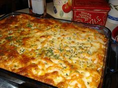 Paula Deen's Layered meatball casserole (can be halved for two people and there is still enough for leftovers)