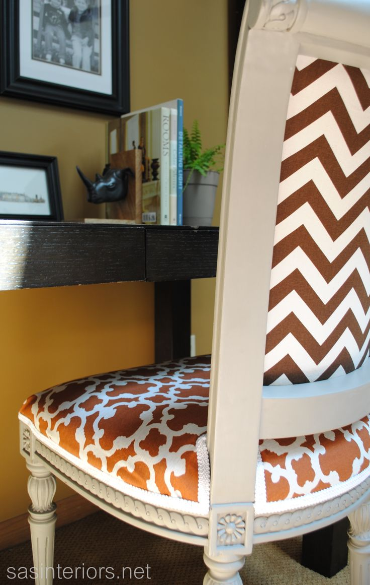 154 best beautiful upholstery images on pinterest chairs reupholstered desk chair carpets rugs upholstery chalk paint painted furniture a sneak peak at the back of the chair where i used a chevron fabric