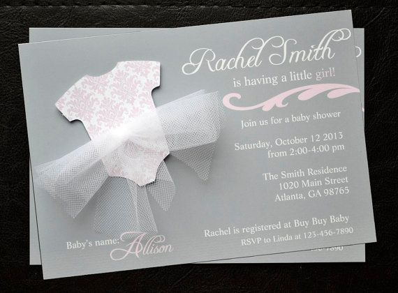Gray and pink baby shower invitations https://www.etsy.com/listing/158383602/baby-girl-shower-invitations-tutu-gray