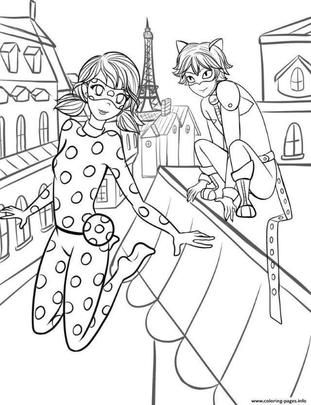Coloriage Ladybug Et Chat Noir In 2020 Ladybug Coloring Page