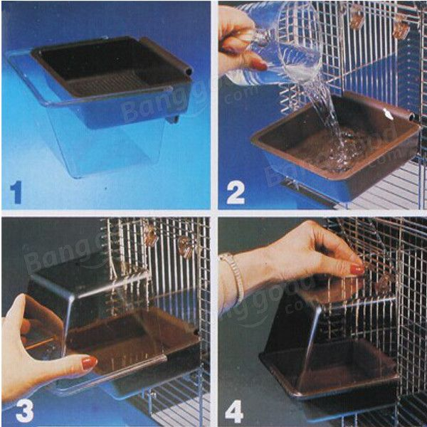 Deluxe Bird Bathtub Bath Box Cage Accessory for Bird - US$6.99
