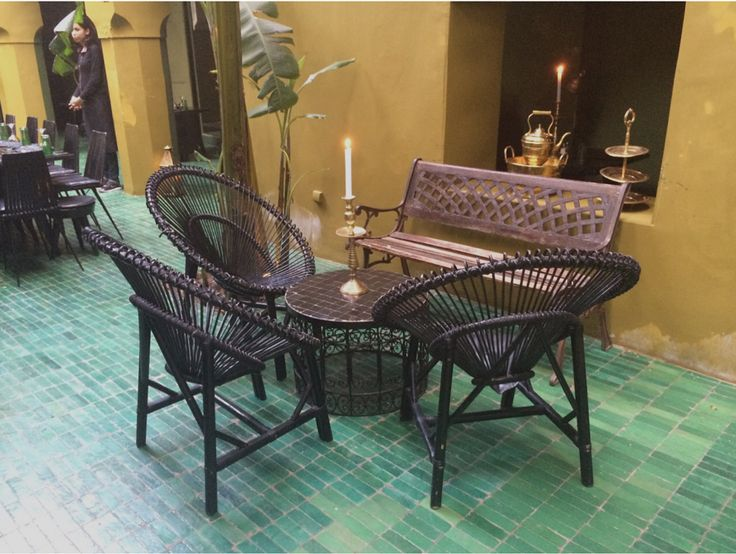 Gorgeous green tile at restaurant Le Jardin, Marrakech