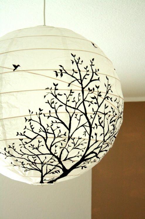 Lampe, Tags Lampe + Baum + Vogel + Papierlampe + Lampenschirme selber machen + Selbst bemalt