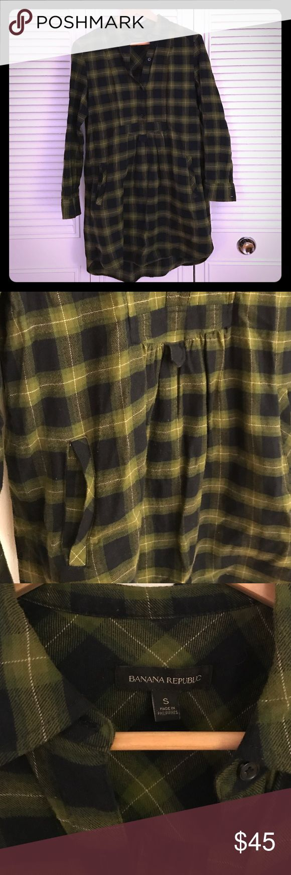 Banana Republic Flannel Shirt Dress with Pockets! Navy and green Banana Republic plaid flannel shirt dress, with pockets! Great with tights or leggings and a cute belt. So warm!! Great condition. Only wore a few times, and it's surprisingly high quality item! Banana Republic Dresses Mini