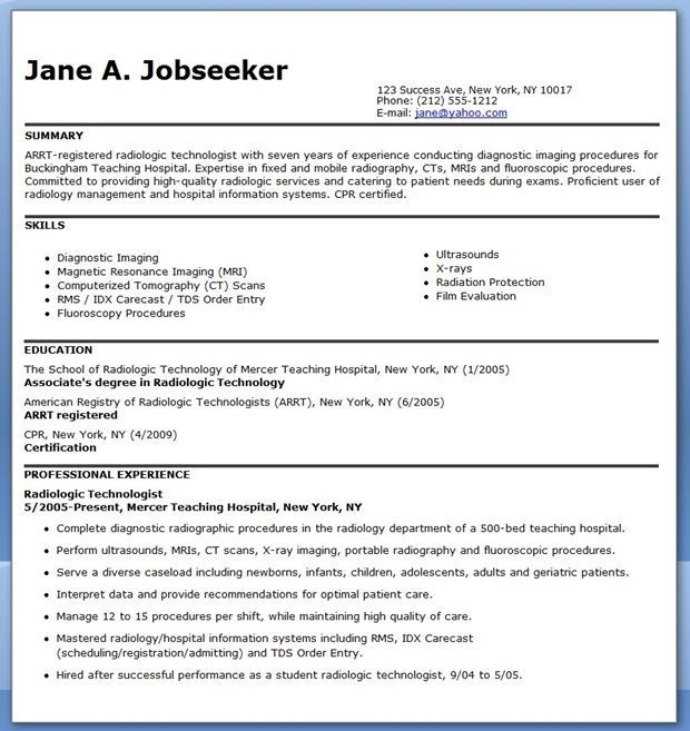 Sample Resume For Radiographer Radiology Technologist Resume