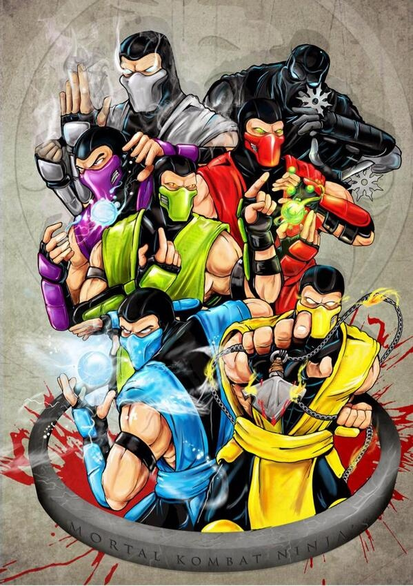 MK Ninjas. Top left to bottom right: Smoke, Noob Saibot, Rain, Ermac, Reptile, Sub-Zero, Scorpion.