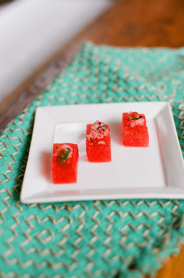 Watermelon with lime, basil and sea salt. I've tried this a couple