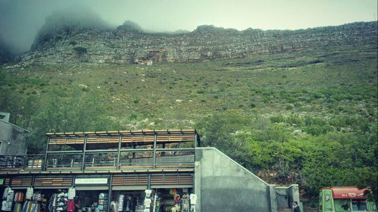 Table Mountain And Cablecar Station In Cape Town.
