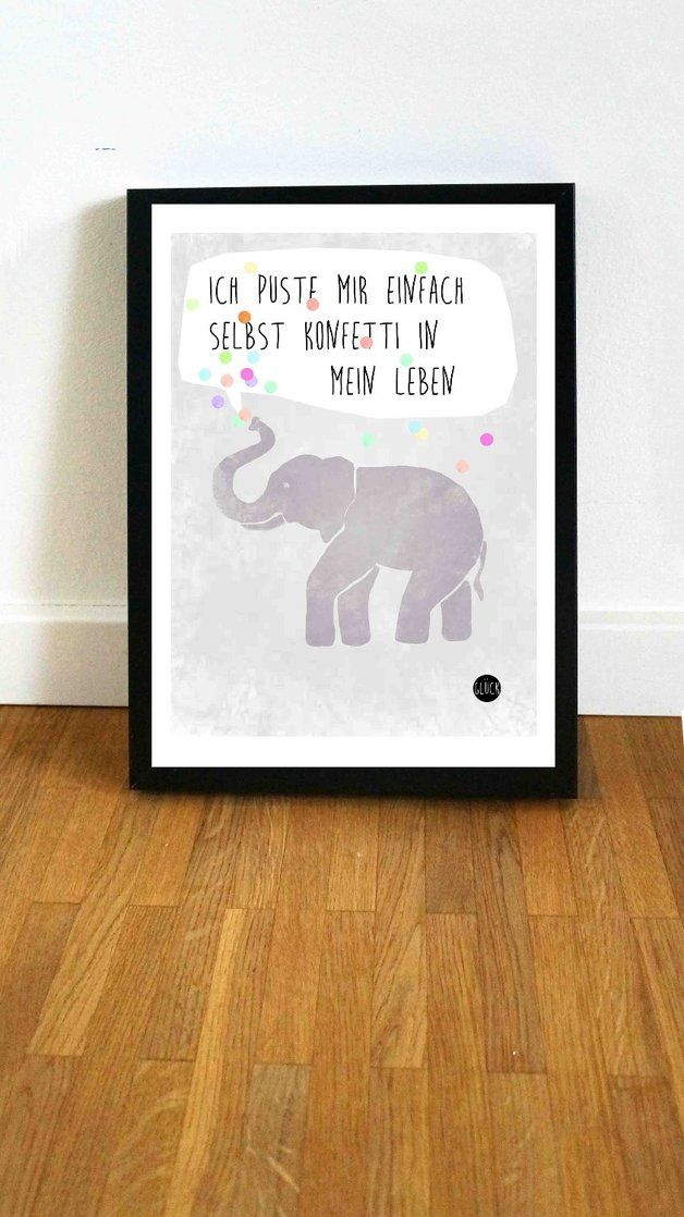 Typo/Druck Konfetti Elefant // print/poster confetti elephant by Haus nr.26 via DaWanda.com