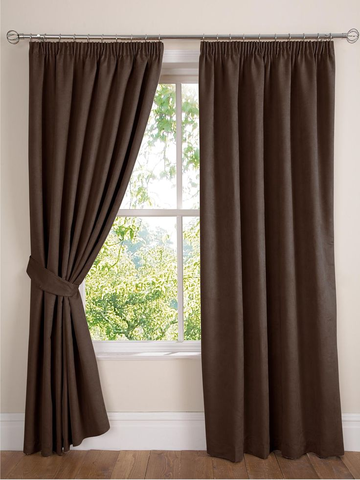 Faux Suede Pencil Pleat Lined Curtains Fully lined curtains in a sumptuous faux suede which is a real textural delight. This fabric is a great canvas for the range of classy colours the curtains are available in - these include chocolate, natural and totally on-trend plum.These faux suede lined curtains have a 7.5 cm (3 inch) pleated heading tape that can be hung from poles or tracks.Matching tie-backs are available separately, as well as an eyelet version of the curtains.Choose from the…