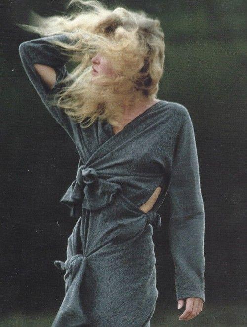 unknown model wearing comme des garçons by hans feurer for vogue us july 1983