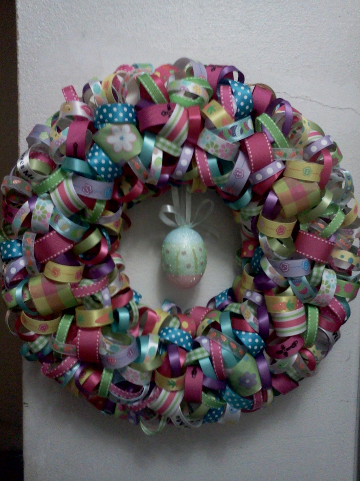 Easter Ribbon Wreath007 Crafts, Crafts Ideas, Crafts Gene, Wreaths Hobbies, Awesome Child, Ribbons Wreaths, Easter Ribbons, Ribbon Wreaths