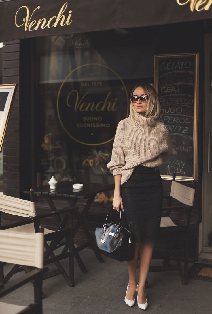 camel turtleneck sweater + lace black pencil skirt + white pointed pumps