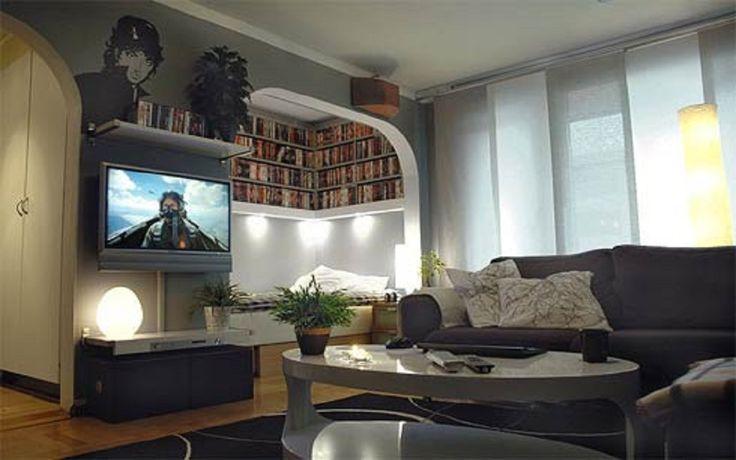 Salon Pour Centre De Divertissement Avec Bricolage Crémaillère Coin Dvd Combinée Avec Des Canapés Noir Et Blanc Ovale Table Basse Créatives de Stockage DVD Idées Meubles