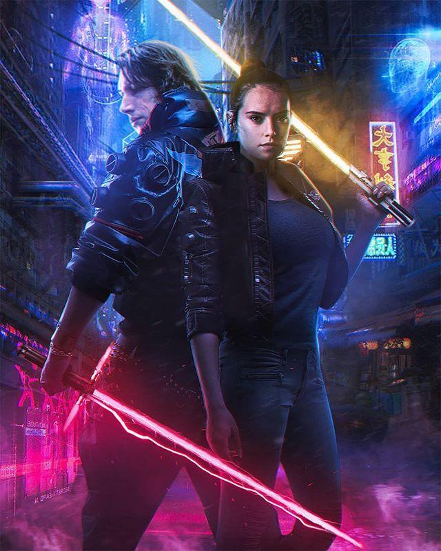 Cyberpunk Star Wars The Rise Of Skywalker In 2020 Rey Star Wars Star Wars Fan Art Star Wars Poster