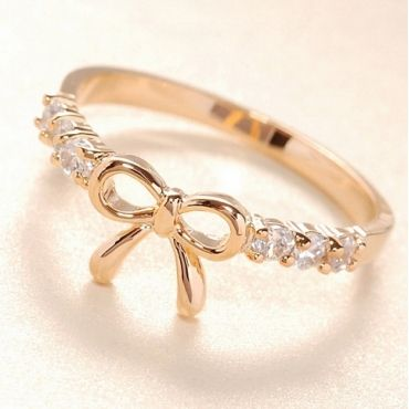 Free Shipping Adorable Bow Design Crystal Embellished Ring