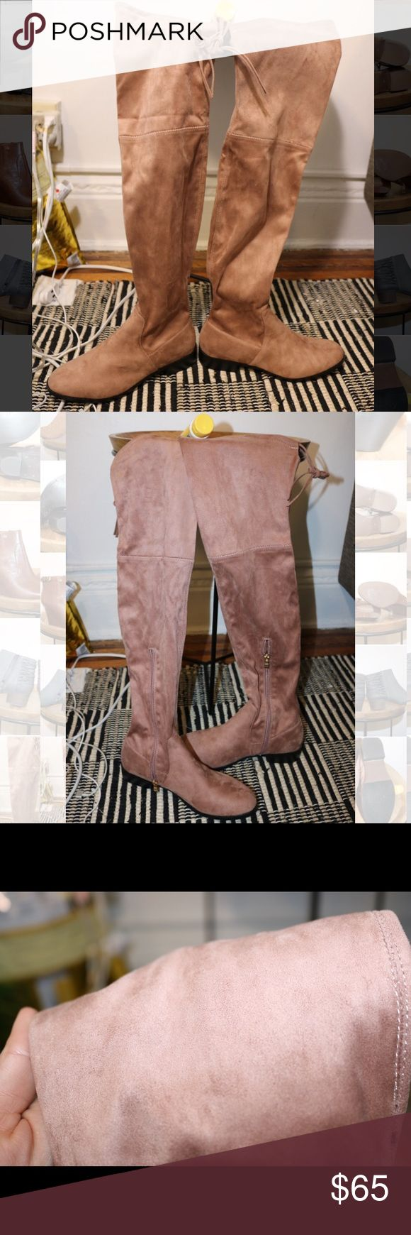 NWOT PEACH Catherine Malandrino Suede Over Knee These are a PEACH, pinkish beige color, suede over the knee boot. Never worn out of the store. Please note photos were taken with a high resolution camera so things that may look like flaws are just lighting and resolution. I disclose any and all issues within the item description. Catherine Malandrino Shoes Over the Knee Boots