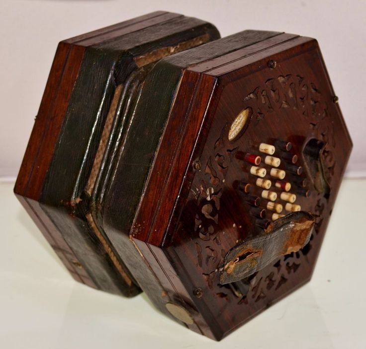 Here we have a Wheatstone hexagonal concertina, with fretwork ends and inset with makers paper label ' C Wheatstone Inventor by Her Majesties Letter Patent, 20 Conduit St, Regent St, London'. Serial no.2851 which dates it to January 1851. | eBay!