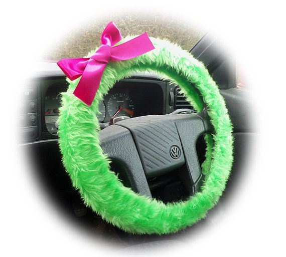 Lime Steering Wheel Cover Acid Green Faux Furry Fur Fuzzy Fluffy Car With Hot Pink Bow