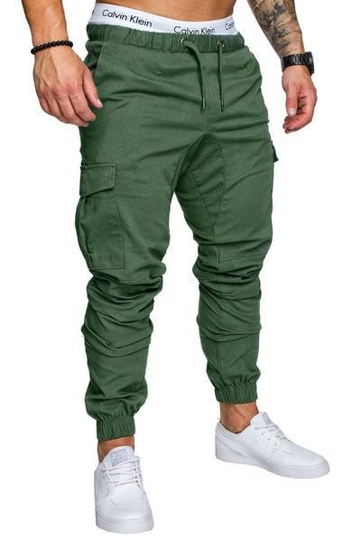 ... Clothing Autumn Sweatpants. Ericdress Plain Khaki Lace Up Pocket Mens  Casual Pants 0b9b99bb9c47