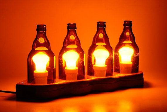 Decorative Desk Lamp with Upcycled Beer Bottles - $300.00