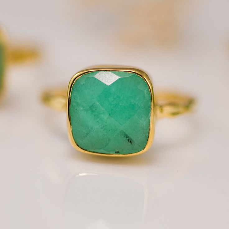 Chrysoprase Ring with natural black inclusions - Gemstone Ring - Gold Ring - Bezel Ring - Stackable Ring. $40.00, via Etsy.
