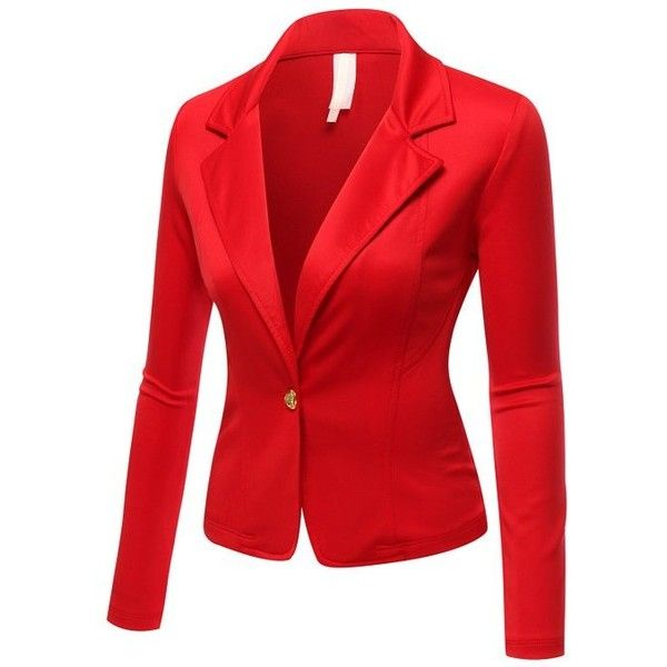 SJSP Women Plus-Size Long Sleeve Solid Color 1 button Blazer ❤ liked on Polyvore featuring outerwear, jackets, blazers, long sleeve jacket, women's plus size jackets, red jacket, plus size blazer jacket and 1 button blazer