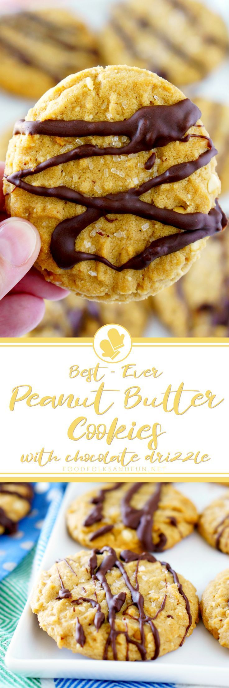 These are the Best Peanut Butter Cookies EVER! They're soft, super nutty, and drizzled with just the right amount of chocolate.