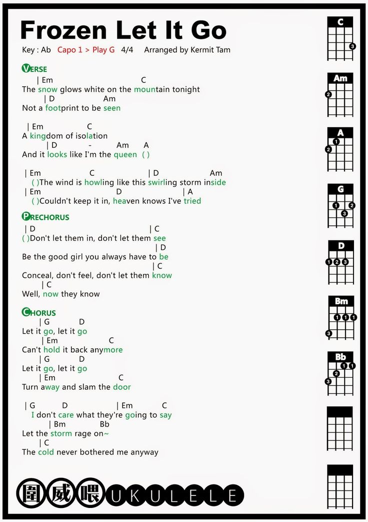 圍威喂 ukulele: Frozen Let It Go [ukulele tab]