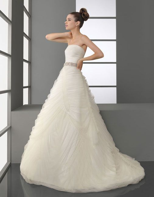 A-line strapless sweep / brush train pretty tulle with beading wedding dress