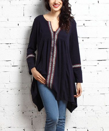 Loving this Navy Embroidered Notch-Neck Tunic on #zulily! #zulilyfinds
