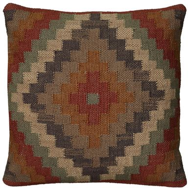 18 Inch X 18 Inch Rust Decorative Pillow With Woven Southwestern Patten
