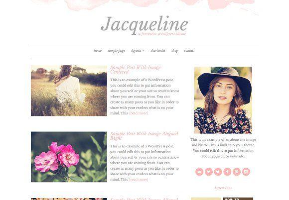 Jacqueline WordPress Theme by Beautiful Dawn Designs on @creativemarket