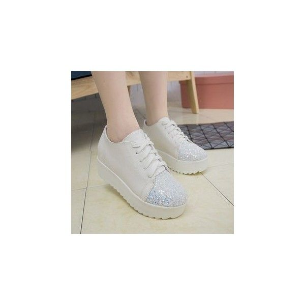 Glitter Hidden Wedge Sneakers featuring polyvore women's fashion shoes sneakers footware wedge sneakers platform shoes glitter shoes glitter trainers white shoes