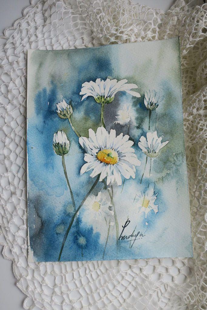 Gänseblümchen sind schöne Motive für Aquarell. Die weiße Blume ist eine der… – Bunte Blumen