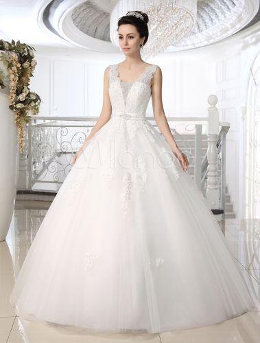Vestido de casamento nupcial de assoalho-comprimento de laço do bola branca vestido encantador - Milanoo.com