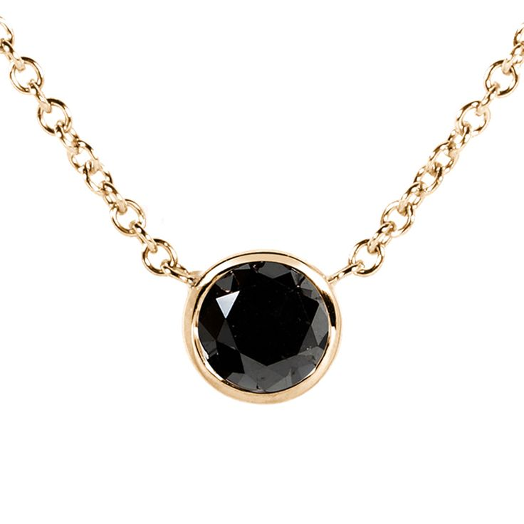 If you appreciate and cherish the alluring beauty of the unique black diamond stone, enrich your exquisite jewelry collection with this flattering Black Diamond Solitaire 1/2 Carat Round Bezel Necklac