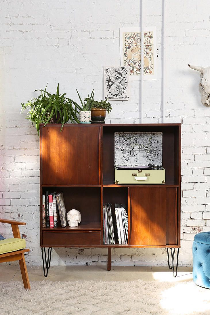 Assembly Home Media Console - Urban Outfitters- I like the hairpin legs and  that the record player is inside not just sitting on top.