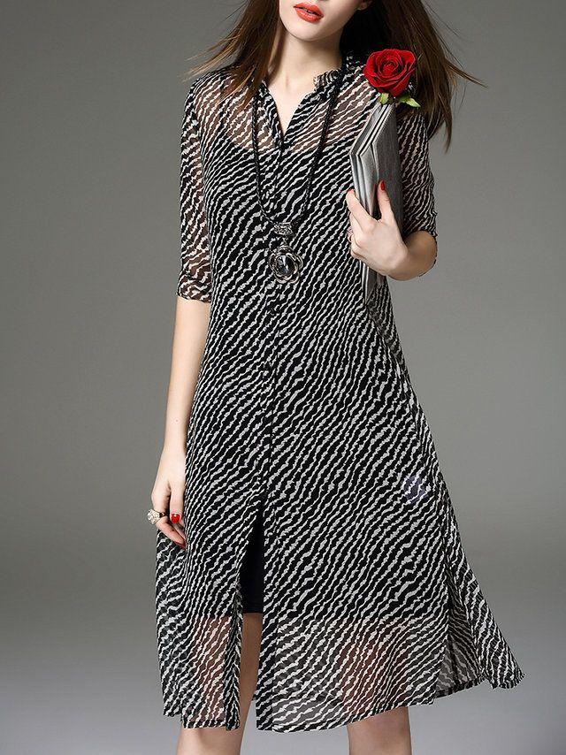 Black Printed Casual Two Piece Midi Dress - StyleWe.com