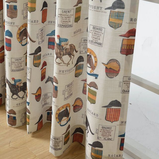 Children Blackout Curtains For Living Room Kids Bedroom Cartoon Horses Cotton Curtain Fabric Window Treatments Panels Boys