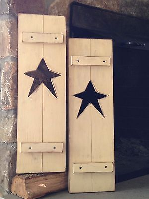 Primitive Rustic Set of 2 Star Shutters/ Antique Ivory