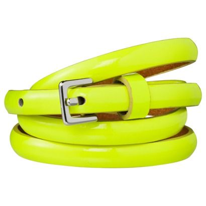 Xhilaration® Bombe Neon Belt - Yellow, $12.99. (Suggested item to recreate this outfit: http://www.closet-coach.com/2012/12/19/working-mom-client-meeting-outfit-stripes-and-silver-for-an-office-holiday-party/?utm_medium=social_media_campaign=Traffic)
