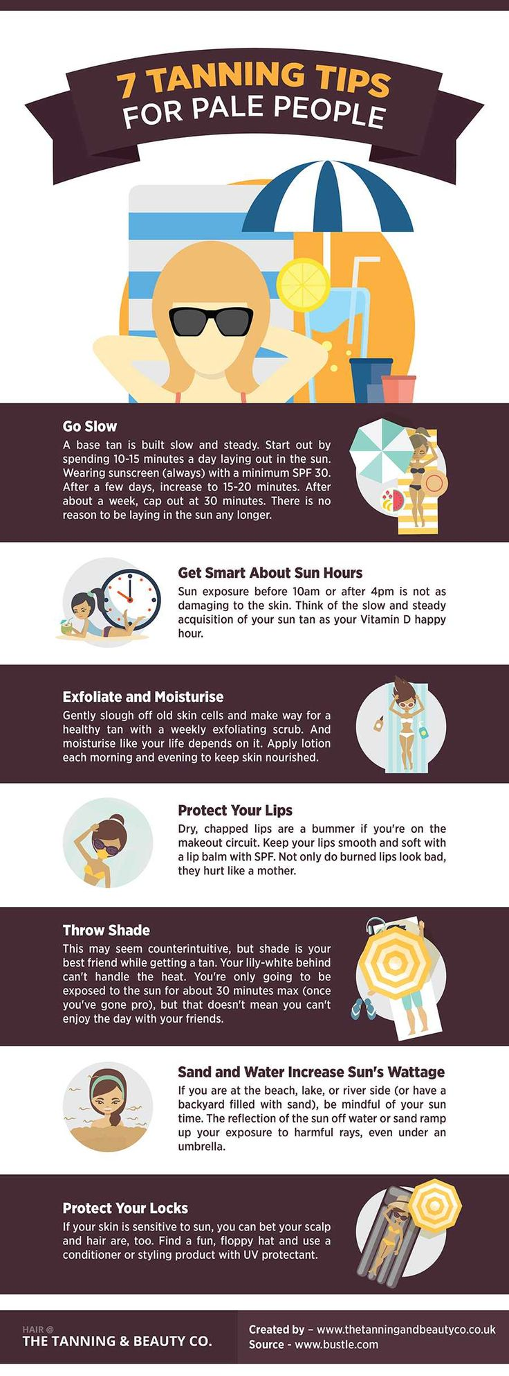 http://www.thetanningandbeautyco.co.uk/tanning-tips-infographic/4593653608  In this infographic we look at some tanning tips for pale people.