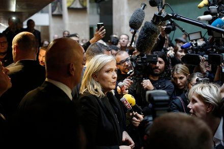 Marine Le Pen French National Front Leader Speaks at Her Hate-Speech Trial