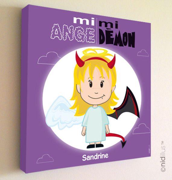 """Tableau rigolo et personnalisé - Thème """"mi-ange mi-démon"""" violet"""